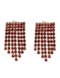 Fashion Red Fringed Diamond Earrings