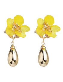 Fashion Yellow Acrylic Flower Alloy Drop Earrings