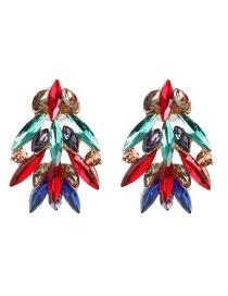 Fashion Color Geometric Diamond Earrings