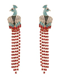 Fashion Red Peacock Fringed Stud Earrings