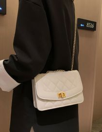 Fashion White Locked Rhombic Chain Shoulder Messenger Bag
