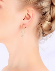 Fashion Gold Zircon S925 Silver Needle Star Tassel Moon Earrings