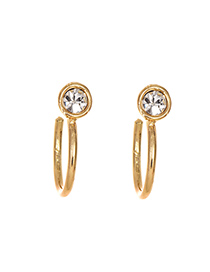 Fashion Gold Alloy Diamond Round Ear Ring