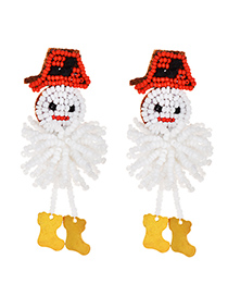 Fashion White Alloy Rice Beads Snowman Stud Earrings
