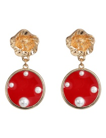 Fashion Red Round Transparent Pearl Stud Earrings