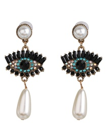 Fashion Black Big Eye Zircon Pearl Earrings
