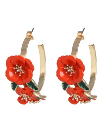 Fashion Red C-shaped Iron Flower Earrings