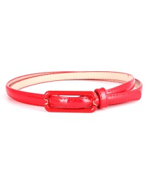 Fashion Red Flat Japanese Buckle Wide Belt
