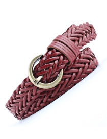 Fashion Red Pin Buckle Crepe Woven Thin Belt