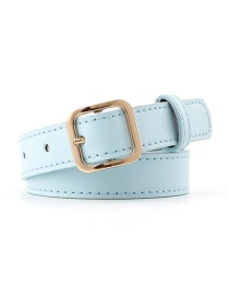 Fashion Sky Blue-gold Buckle Small Square Buckle Belt