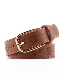 Fashion Camel Pu Pin Buckle Printed Wide Belt