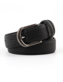 Fashion Black Alloy Buckle Stone Pu Belt