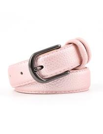 Fashion Pink Alloy Buckle Stone Pu Belt