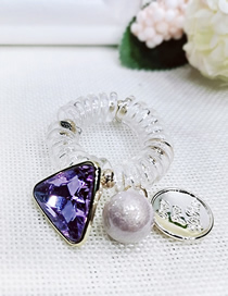 Fashion Purple Triangle Spiral Transparent Telephone Line Rhinestone Hair Ring