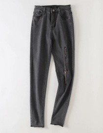 Fashion Gray Washed Raw Zippered Jeans Trousers