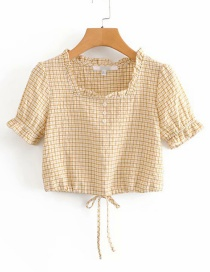 Fashion Yellow Plaid Hem: Drawstring: Small Shirt