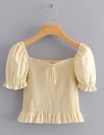 Fashion Yellow Pleated Lace-up Collar Shirt