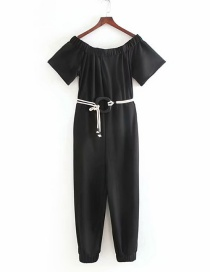 Fashion Black One-necked Strapless Jumpsuit