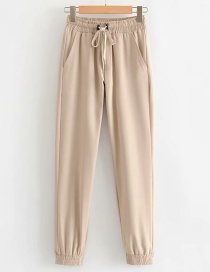Fashion Khaki Lace-up Leg Straight Leg Pants