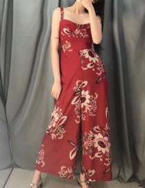 Fashion Red Floral Print Wide Leg Sling Jumpsuit