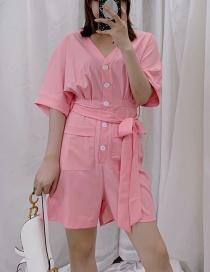 Fashion Pink Waistband V-neck Jumpsuit