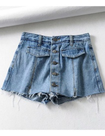 Fashion Blue Washed Fake Pocket Single-breasted High-waist Denim Skirt