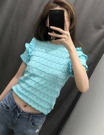 Fashion Green Ruffled Texture Knit Top