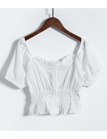 Fashion White Wooden Ear Splicing Front Buckle Small Shirt