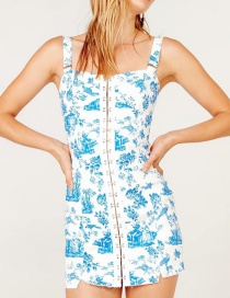Fashion White Printed Blue And White Porcelain Hook And Detachable Sling Strap Dress