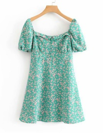 Fashion Green Printed Short-sleeved Square-neck Dress