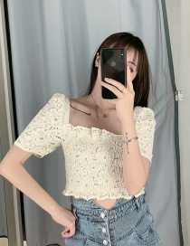 Fashion Beige Lace Stitching Shirt