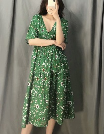 Fashion Green Flower Print V-neck Dress