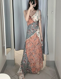 Fashion Color V-neck Spliced ??floral Irregular Chiffon Harness Dress
