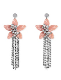 Fashion Pink Acrylic Flower Gemstone Shell Chain Tassel Earrings