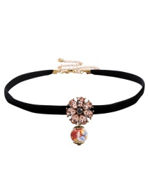 Fashion Pink Flower Ceramic Collar