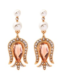 Fashion Gold Pearl Drop Diamond Stud Earrings