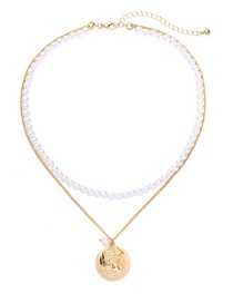 Fashion Gold Embossed Pearl Double-layer Necklace