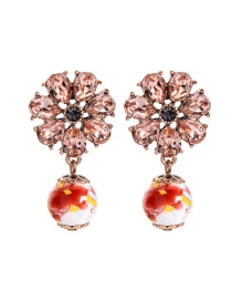 Fashion Pink Flower-studded Ceramic Earrings