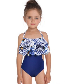 Fashion Blue Double Flashing Print Children's Swimsuit