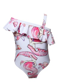 Fashion White Mermaid Print Oblique Shoulder Children's One-piece Swimsuit