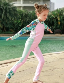 Fashion Pink Girl Colorblock Printed Children's One-piece Swimsuit