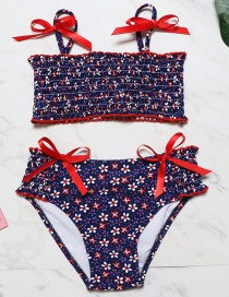 Fashion Dark Blue Floral Folds Children's Split Swimsuit