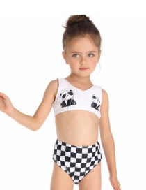 Fashion White Panda Print Children's Swimwear