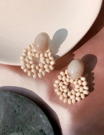 Fashion Light Color Rice Beads Wooden Woven Earrings