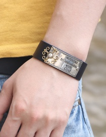 Fashion Black Alloy English Letter Leather Wide Bracelet