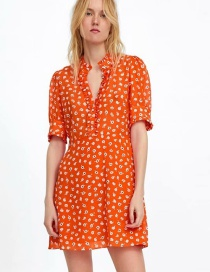Fashion Orange Flower Print Dress