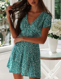 Fashion Green V-neck Print Dress