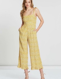 Fashion Yellow Floral Sling Jumpsuit
