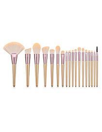 Fashion Pink 18-piece Iron Fan Princess Makeup Brush