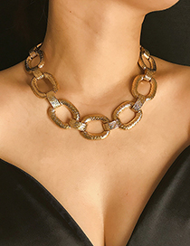 Fashion Gold Metal Geometry Brushed Short Necklace